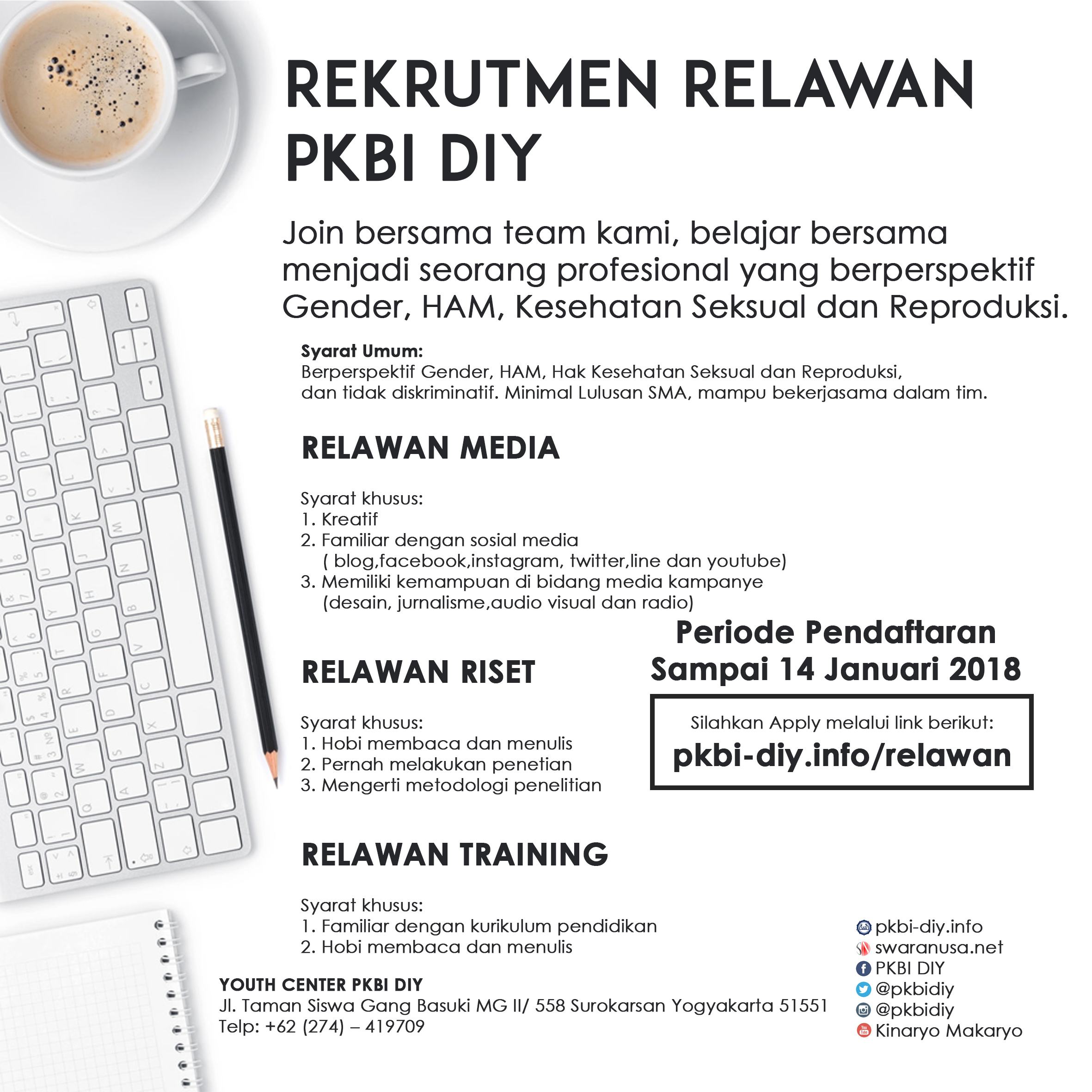 Rekrutmen Relawan PKBI DIY ( Media, Riset, dan Training)